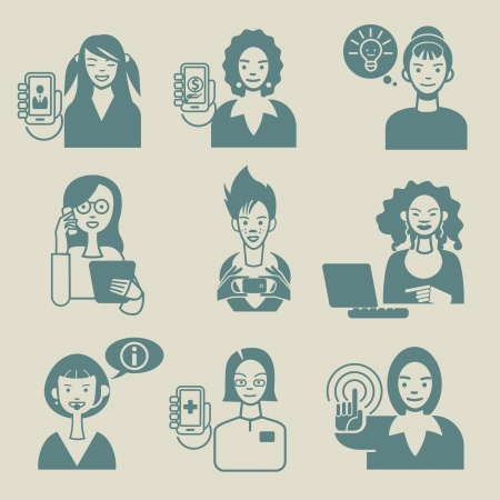 Set with nine avatar of cherful women working with tecnology devices  Vector