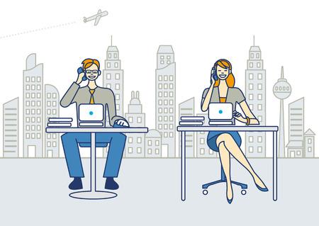 Een zakenman en een zakenvrouw werken in een kantoor Ze praat over de slimme telefoons en het werken met laptops Achter ze de skyline van de stad met wolkenkrabbers EPS 10 Geen transparanten Stock Illustratie