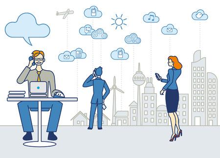 Een zakenman werken in een kantoor Hij praat over de telefoon en het werken met een laptop Deetras van de lijn van de hals van een stad met wolkenkrabbers Nubies en symbolen van cloud computing