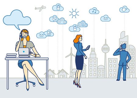 smart woman: A business woman working in an office She talk on the phone and working with a laptop  Behind she the skyline of a city with skyscrapers  Clouds and symbols of cloud computing