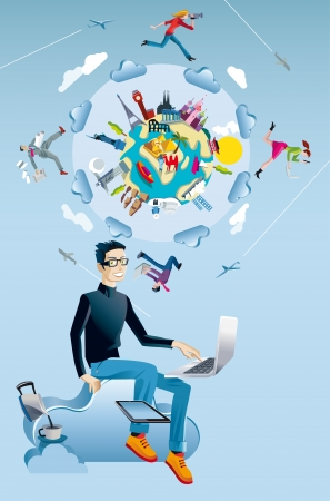 crowd sourcing: A young man working in the cloud with a laptop and a digital tablet  Behind him ther is a world globe with monuments from the five continents  Four characters run and jump through the clouds while working interconnected together  Illustration
