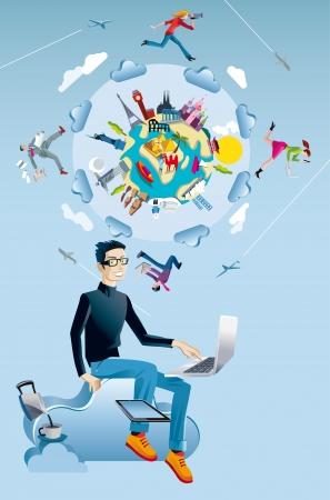 Een jonge man die in de cloud met een laptop en een digitale tablet Achter hem er nu een wereldbol met monumenten uit de vijf continenten Vier personages rennen en springen door de wolken, terwijl het werken samen met elkaar verbonden