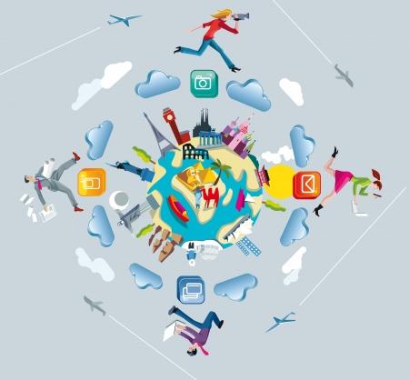 Een bol van de wereld met monumenten uit de vijf continenten Vier personages springen en rennen door de wolken tijdens het werken met elkaar verbonden