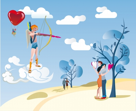 hollidays: Cupid aims with his bow at a loving couple hugging while reading a book   Illustration