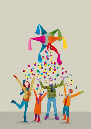 A united family celebrates Christmas with joy and gratitude gesture under a rain of confetti