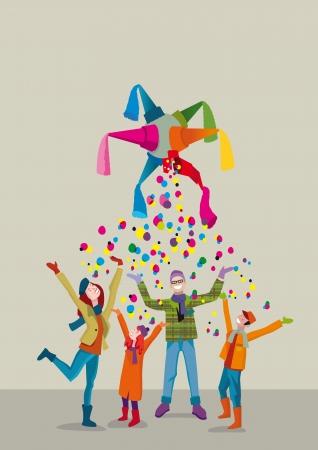 Een verenigd familie viert kerst met vreugde en dankbaarheid gebaar onder een regen van confetti Stock Illustratie