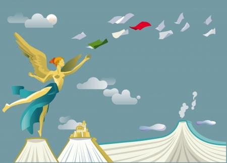 Engel van de Mexicaanse onafhankelijkheid op een aantal boeken die de bergen en de vulkaan Popocatepetl simuleren