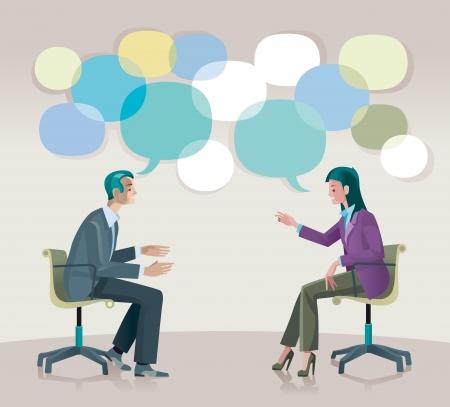 Een man en een vrouw zitten met elkaar praten open en creatief.