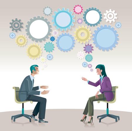 Een man en een vrouw zitten met elkaar praten openlijk en creatief