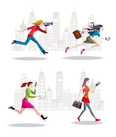 entrepreneurs: Set of Entrepreneurs Women Running in the City.