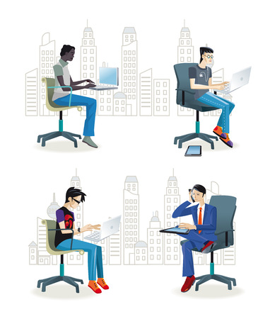 Set of working men sitting in their office chairs. They work with their laptop or talking on the phone. They work as graphic designers, programmers, journalists and business men and women.
