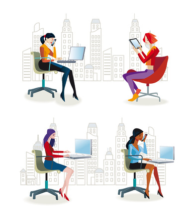 Set of working women sitting in their office chairs. They work with their laptop or talking on the phone. They work as graphic designers, secretaries, programmers, journalists and business men and women. Behind them office buildings Vector