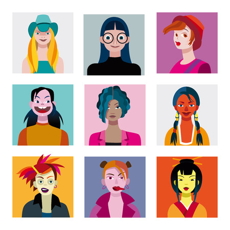 varied: Varied set of young characters, teenagers and girls.  Illustration
