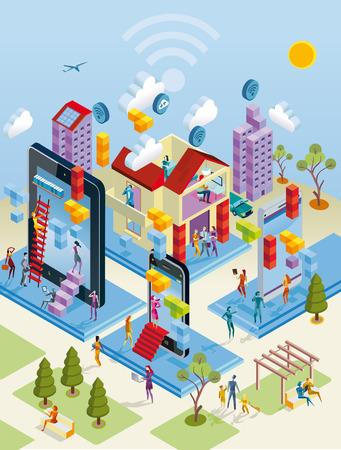 Een stad internet netwerk met draadloze en reuzen computerapparatuur als computer, digitale tablet, mobiele telefoon Stock Illustratie
