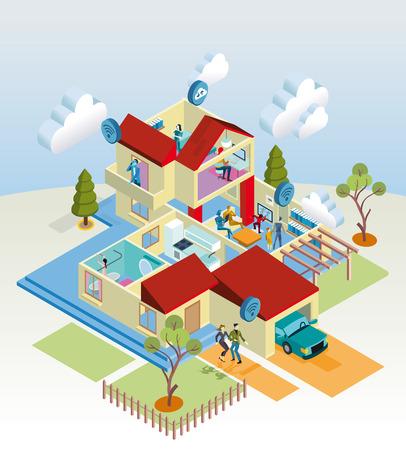 Una red de Internet en casa con los dispositivos inalámbricos y de computación como la computadora, tableta digital, teléfono móvil, la televisión y los videojuegos