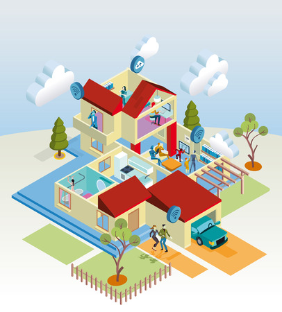 A home internet network with wireless and computing devices  as computer, digital tablet, mobile phone, television and video game   Vettoriali