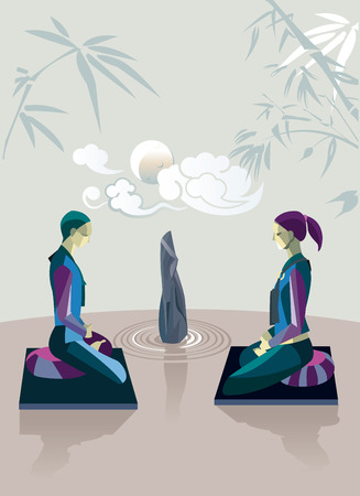 Men and women sitting in the lotus position, in a zen garden, practicing silent meditation  They belong to the tradition of Zen Buddhism  Behind them the moon and some clouds  Illustration