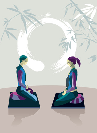 Men and women sitting in the lotus position, in a meditation hall, practicing silent meditation  They belong to the tradition of Zen Buddhism