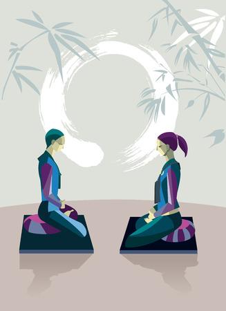 dhyana: Uomini e donne siedono nella posizione del loto, in una sala di meditazione, praticando la meditazione silenziosa Essi appartengono alla tradizione del Buddhismo Zen