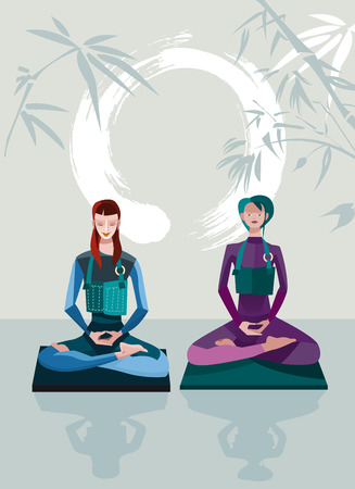 Two Women Meditating sitting in the lotus position, practicing silent meditation  behind them a large calligraphic circle that represents the behind them a large calligraphic circle represents the emptiness  They belong to the tradition of Zen Buddhism