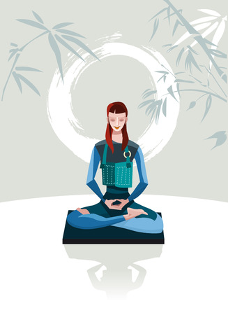 A woman sitting in meditation  Behind her calligraphy circle, symbol of emptiness  Illustration