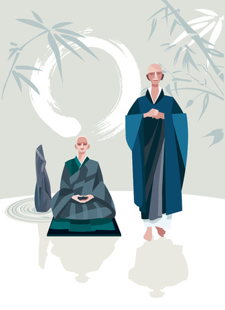 A Zen Master and one of his disciples in a Zen garden  A large calligraphic circle that represents emptiness  They belong to the tradition of Zen Buddhism  Vectores