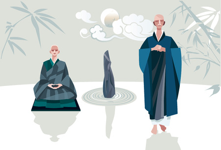 A Zen Master and one of his disciples in a Zen garden  Behind their a some clouds crossing in front the moon  They belong to the tradition of Zen Buddhism  Vector