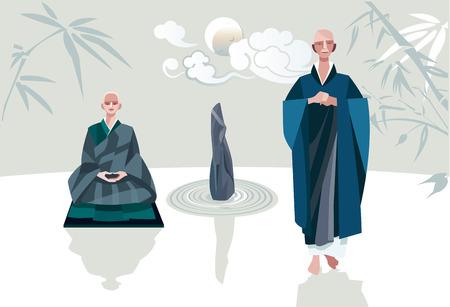 Een zenmeester en een van zijn discipelen in een Zen-tuin achter hun een enkele wolken kruising tegenover de maan Ze behoren tot de traditie van het Zen Boeddhisme Stock Illustratie