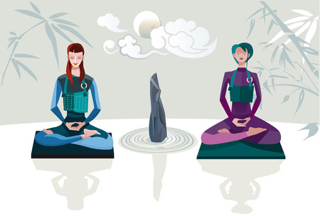 Two women sitting in lotus position with theirs legs crossed practising zen meditation  Vector