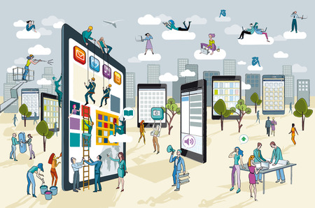 A team of people work creatively together building giant digital tablets  This are like skyscrapers, and create a city  Other people download this content on their mobile devices  Horizontal composition  Vector