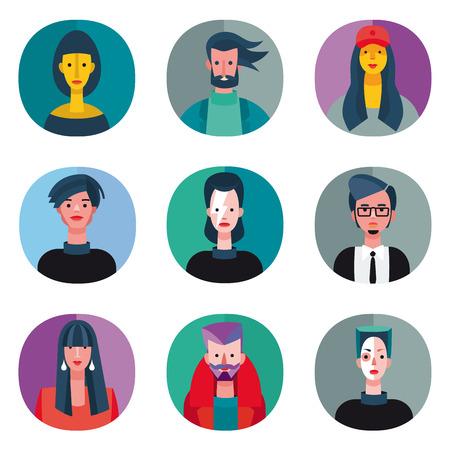 Een set van negen avatar voor coole jongeren op vlakke stijl. Zeer nuttig voor sociale netwerken, mobiele applicatie of web design.