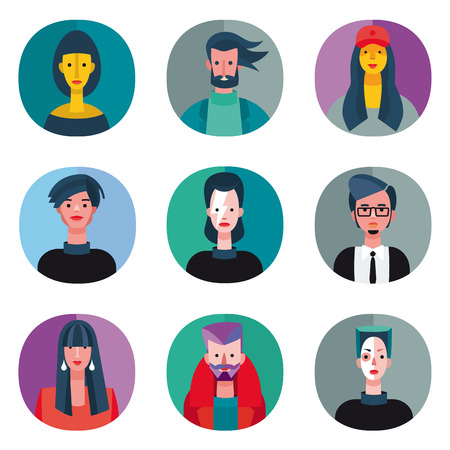 A set of nine avatar for cool young people on flat style. Very useful for social networks, mobile application or web design.