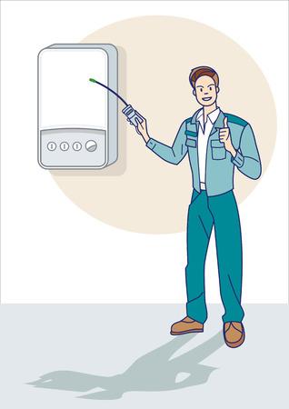 Een gas technicus inspectie van de goede werking van een ketel voor aardgas lekkage Stock Illustratie