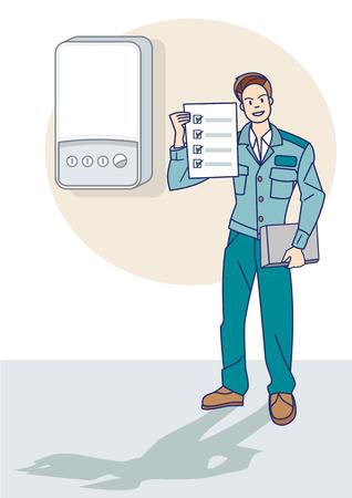 proper: Un tecnico del gas ispezionare il corretto funzionamento di una caldaia per fughe di gas naturale Vettoriali