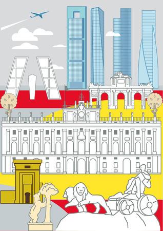 Enkele van de belangrijkste en meest representatieve gebouwen van Madrid. Stock Illustratie