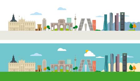 Horizon van Madrid met een aantal van de belangrijkste en meest representatieve gebouwen van deze stad. Stock Illustratie