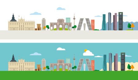 Madrid Skyline with some of the most important and representative buildings of this city. Vector