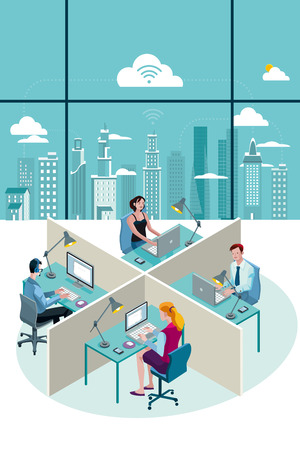 Office Workers Sitting at their desks working with laptop. At their back, through a big window, there is a city with skyscrapers.