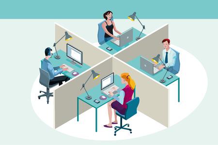 travailleur: Quatre employ�s de bureau dans un bureau, s�ance de travail � leur bureau, avec leur ordinateur portable. Perspective isom�trique.