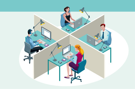 Four office workers in a office, working sitting at their desks, with their laptop. Isometric perspective.