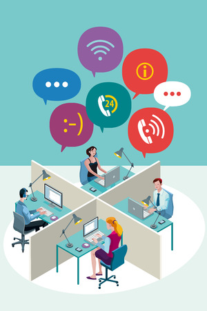 Four office Workers Working Sitting in a office with Speech Bubbles. Isometric perspective. Vector