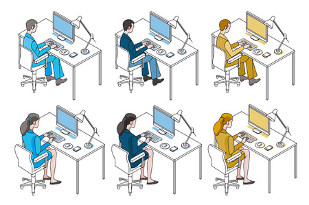 Color variation man and woman working with Computer. Vectores