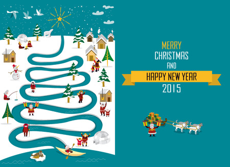 Cute Eskimo characters celebrating Christmas and New Year holidays in a snowy landscape with a river in tree form.