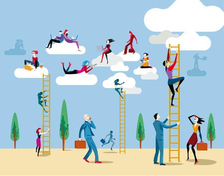 vida social: Los hombres y las mujeres van al cielo por escaleras para acceder a la nube desde el que trabajan en l�nea y compartir la informaci�n y el conocimiento.