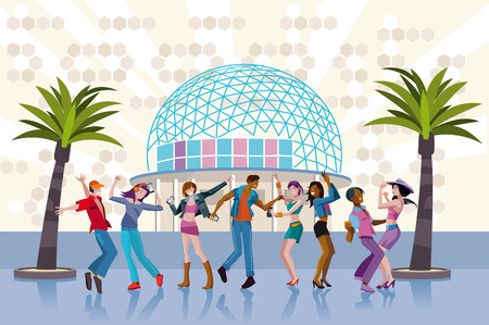 Goup of young people in a disco, dancing in a sunset party. Vector Illustration. Vector