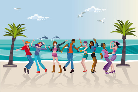 happy young people: Group of happy young people dancing at the beach. Summer sunset. Vector Illustration. Illustration