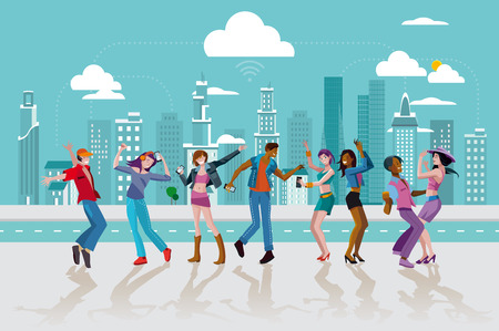 young people fun: Group of young people dancing and jumping in a street of a modern City. Vector Illustration.