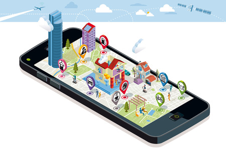 City map with GPS services Icons. Smartphone. On it screen a vector map of the city, where  appear pins with the location of different service icons and some buildings and people. Ilustração