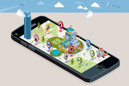 location: City Map with Pins and an Intelligent House. Smartphone. On it screen a vector map of the city, where  appear pins with the location of different service icons and an intelligent residential building.