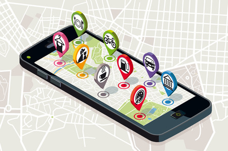 City map with GPS services Icons. Smartphone. On it screen a vector map of the city, where  appear pins with the location of different service icons.